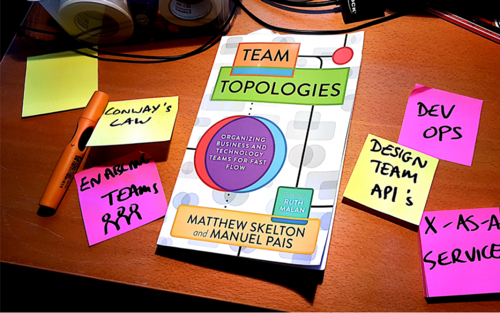 Team Topologies book on my desk with some post-its around it